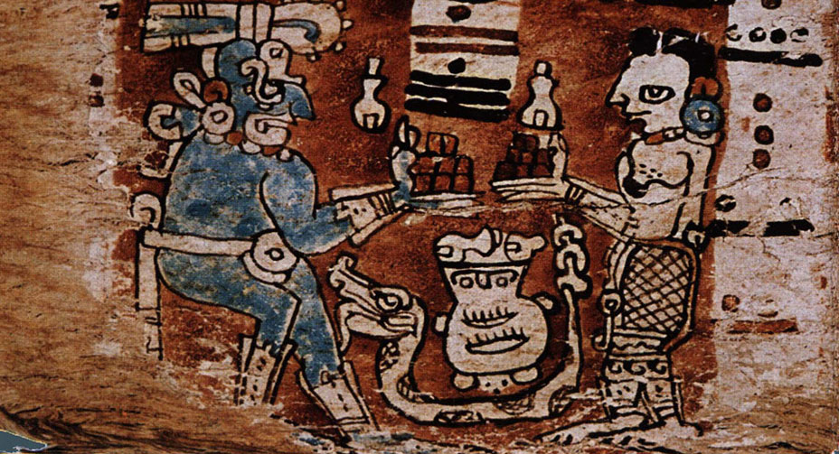 Maya Deities Exchange Chocolate
